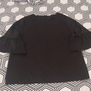 Boohoo Black Trumpet Sleeve Blouse